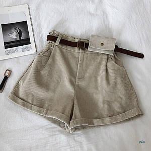 Женские вельветовые шорты с подворотами и поясом 77wa352
