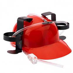 Шлем с трубочками для пива Красный