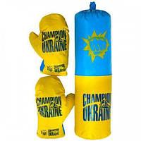 """Боксерський набір підвісний, груша і рукавички середній 55х20 см Danko Toys """"Україна"""""""