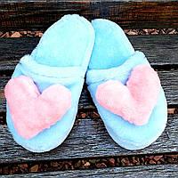 Тапочки голубые с сердцами 36-41р