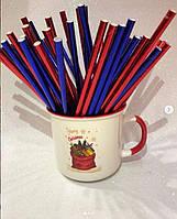 Бумажные трубочки для напитков Синий металлик, 25 шт/уп