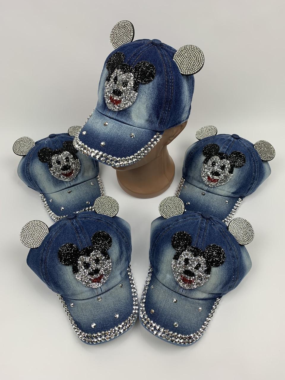 Детские джинсовые кепки с ушками для девочек оптом, р.50 (ktn2071)