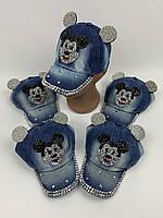 Детские джинсовые кепки с ушками для девочек оптом, р.50 (ktn2071), фото 1