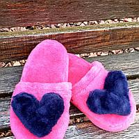 Тапочки малиновые с сердцами 36-41р