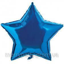 """16"""" (40 см) Звезда металлик синий Китай шар фольгированный"""