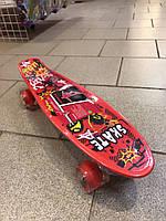 Скейт, скейтборд, пенни борд со светящимися колесами
