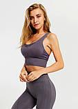 Спортивний костюм жіночий безшовний компресійний для фітнесу. Комплект лосини і топ, розмір S (сірий), фото 2