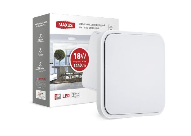 Світильник накладний MAXUS 18W 4100K (тонкий дизайн, IP40) квадрат (03)
