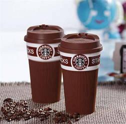 Керамическая чашка с силиконовой крышкой и съемным чехлом Starbucks 350 мл., коричневая