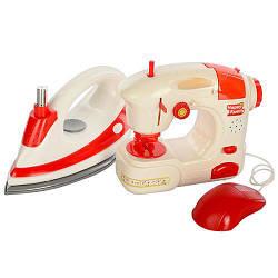 Детский набор бытовой техники Швейная машинка + Утюг, красно-белый