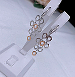 Длинные сережки серебро с золотом Соты, фото 2