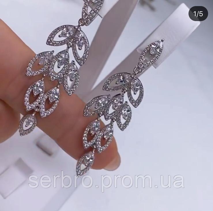 Сережки у сріблі родованим з цирконом Листочки
