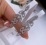 Сережки у сріблі родованим з цирконом Листочки, фото 5