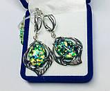 Срібні сережки з каменем гелиотис Моніка, фото 3