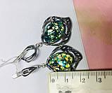 Срібні сережки з каменем гелиотис Моніка, фото 7
