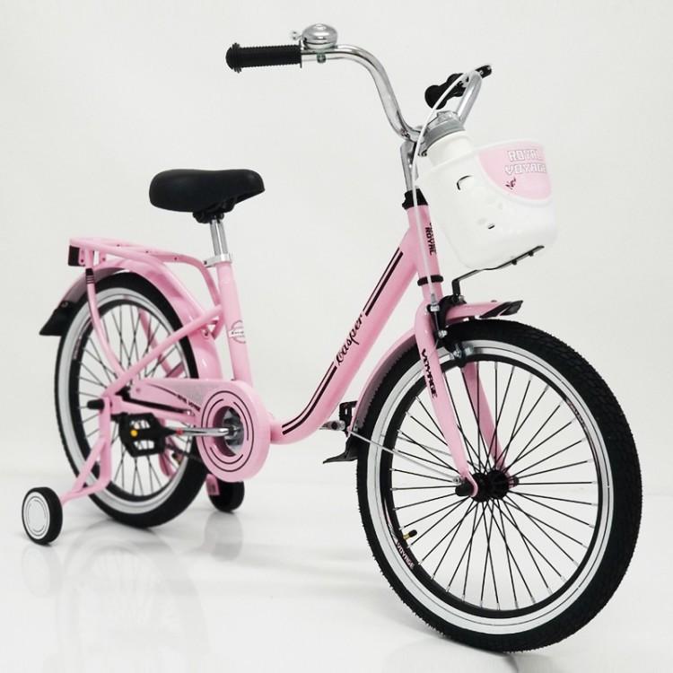 Детский Велосипед для девочки в ретро стиле с заниженной рамой CASPER-20 Розовый с корзинкой и багажником