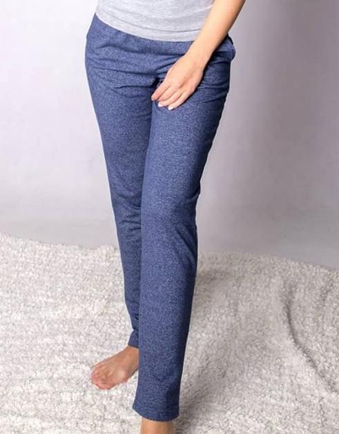Спортивные штаны женские трикотажные двухнитка, синие