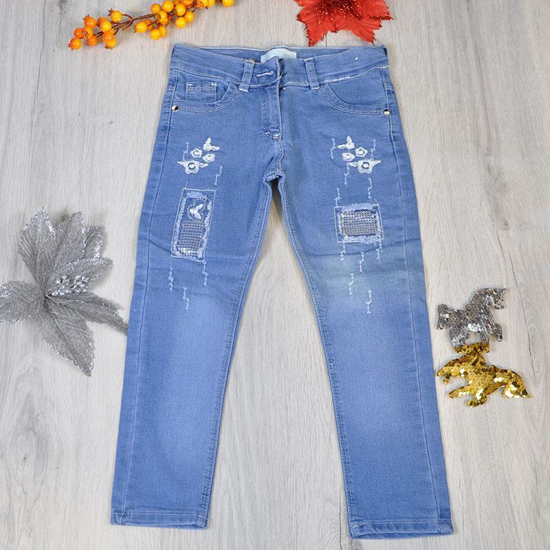 Весенние детские джинсы с утяжкой (90% коттон,10% полиестер) для девочек 3-7 лет (5 ед в уп)