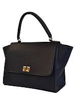 Сумочка-саквояж-портфель жіноча Лакшері для стильної леді. Синій.