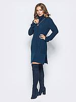 Теплое платье-туника синее вязаное без горловины 44-48