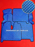 Ковры экокожа на MAN TGX (2 ящика) Механика синие.