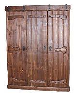 Шкаф под старину с деревянными накладками