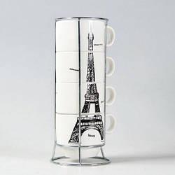 Набор керамических чашек Париж 4 штуки 26 см. (110824)