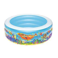 Детский бассейн надувной со сливом круглый Bestway на 400 литров, голубой