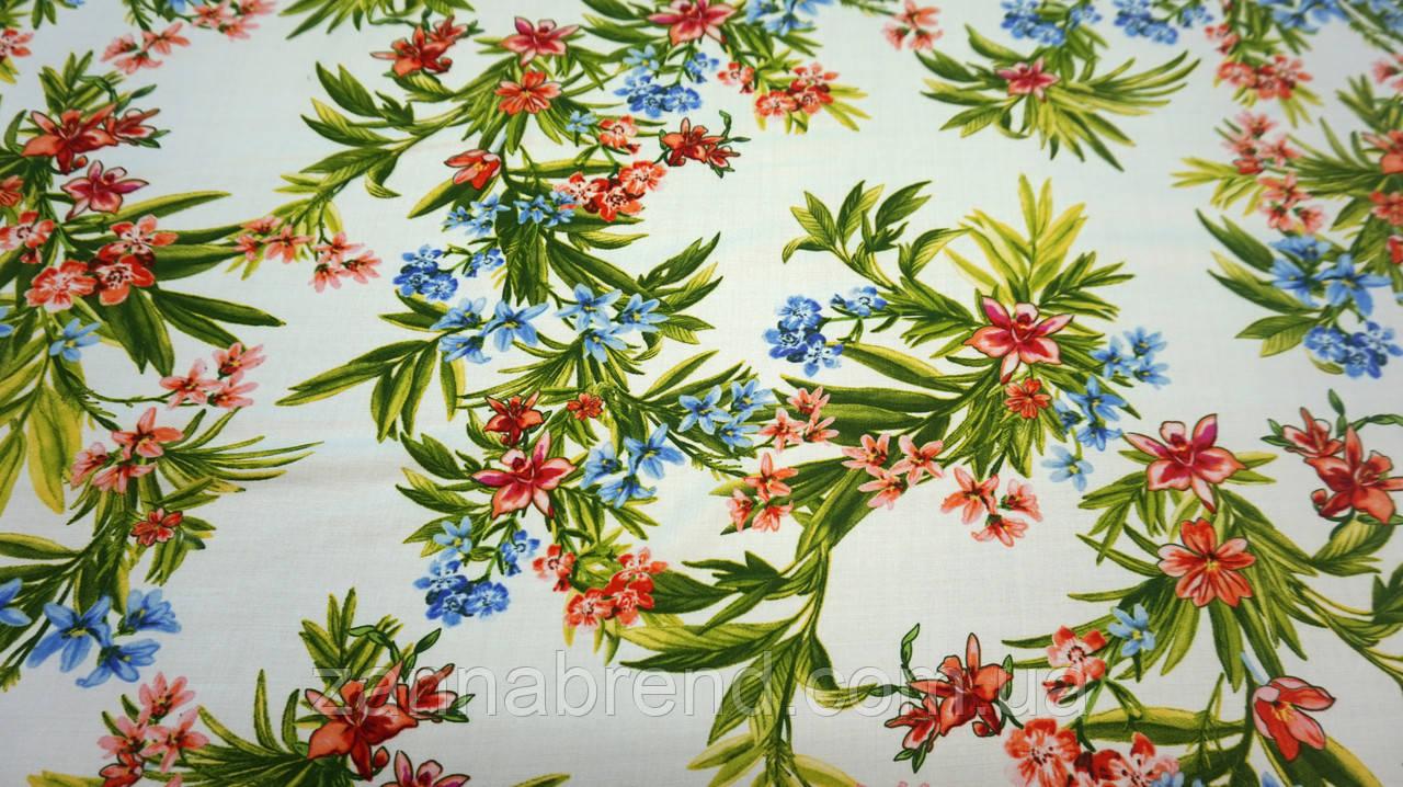 Ткань белый штапель цветочный принт