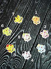 Деревянная пуговица 8 цветов, Котенок для скрапбукинга, рукоделия  и др. 2,5х2,3 см - 1 шт, фото 2