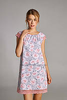 Жіноча сорочка ELLEN Сіро-рожеві троянди закриті плечі 323/001