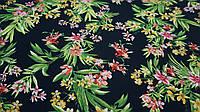 Ткань черный штапель цветочный принт, фото 1