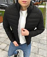 Весенняя мужская куртка стеганая черная