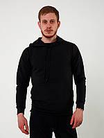 Худи мужское толстовка свитшот с капюшоном весенний осенний черный без логотипа