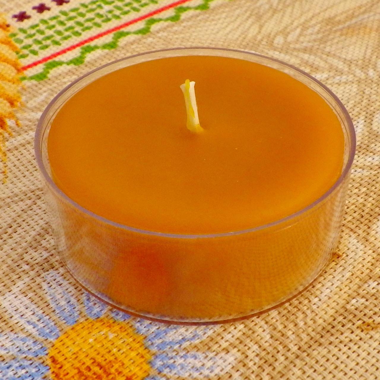 Кругла широка чайна воскова свічка 44г; Круглая широкая чайная восковая свеча для аромаламп и лампадок