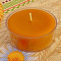 Кругла широка чайна воскова свічка 44г; Круглая широкая чайная восковая свеча для аромаламп и лампадок, фото 1