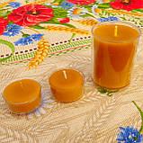 Круглая высокая восковая чайная свеча 77г; натуральный пчелиный воск, фото 3