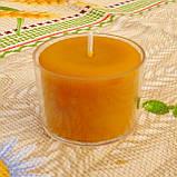 Круглая прозрачная восковая чайная свеча 30г для аромаламп и лампадок; натуральный пчелиный воск, фото 2
