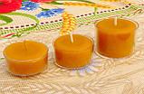 Круглая прозрачная восковая чайная свеча 30г для аромаламп и лампадок; натуральный пчелиный воск, фото 4