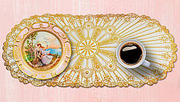 Овальная салфетка с золотым декором 83х40 см. (5156)