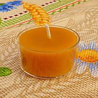 Круглая прозрачная восковая чайная свеча 18г для аромаламп и лампадок; натуральный пчелиный воск