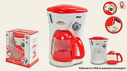 Детская игрушка кофеварка на батарейках, красная 17х13х22 см.