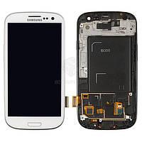 Дисплей для Samsung Galaxy S3 I9300 Оригинал Белый с сенсором и рамкой #GH97-13630B