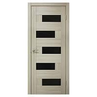 Межкомнатная дверь ПВХ Омис Домино 900мм Черное стекло Дуб беленый