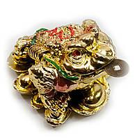 Жаба на монетах золотая (5х3,5х4,5 см)