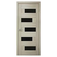 Межкомнатная дверь ПВХ Омис Домино 700мм Черное стекло Дуб беленый