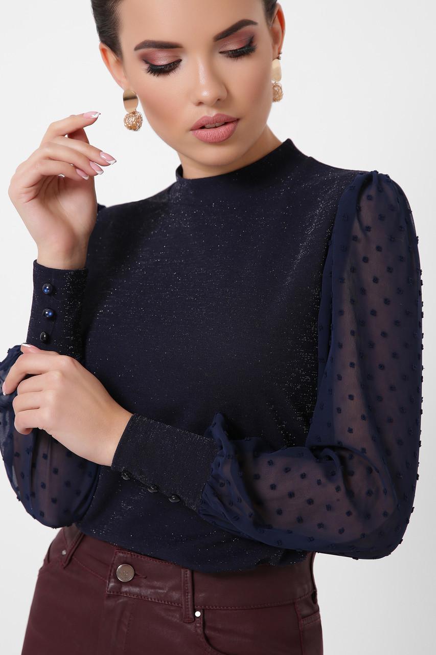 Темно-синяя нарядная блуза с люрексом