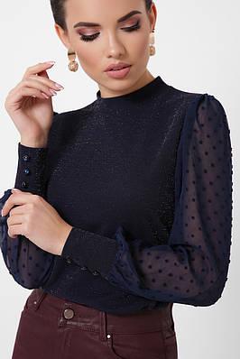 Темно-синя нарядна блузка з люрексом