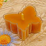 Восковая чайная свеча Бабочка (мотылек) в пластиковом прозрачном контейнере; натурального пчелиный воск, фото 3