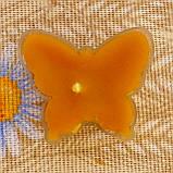 Восковая чайная свеча Бабочка (мотылек) в пластиковом прозрачном контейнере; натурального пчелиный воск, фото 4